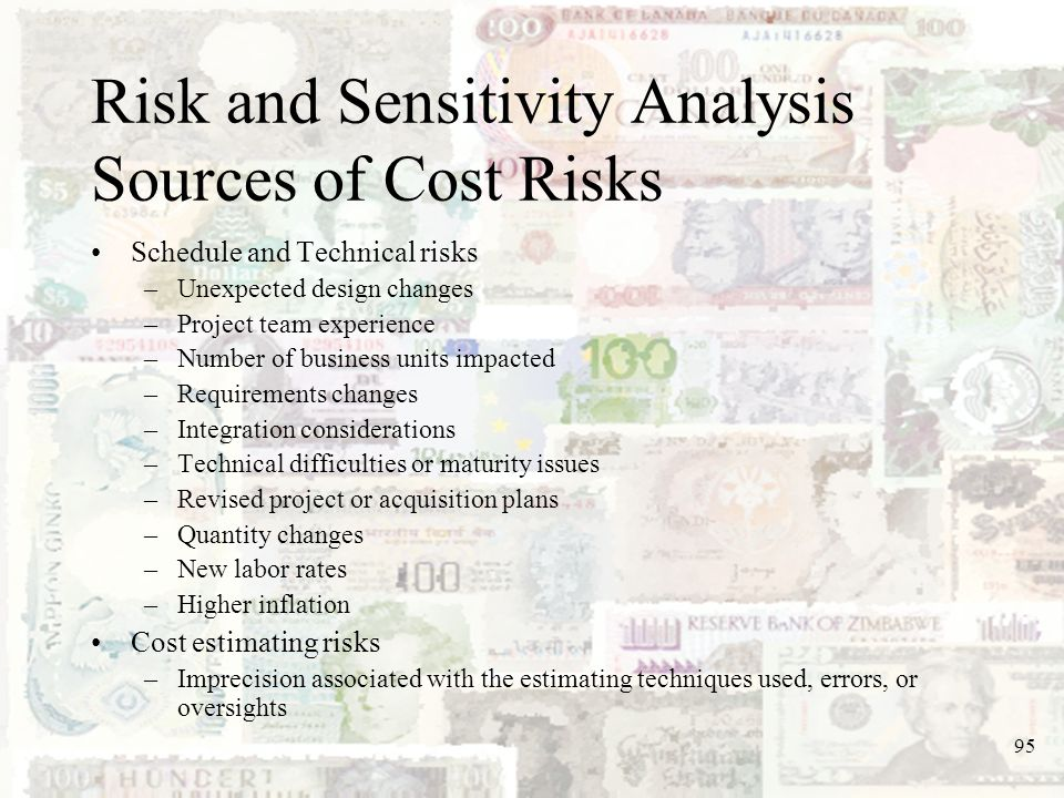 95 Risk and Sensitivity Analysis Sources of Cost Risks Schedule and Technical risks –Unexpected design changes –Project team experience –Number of bus