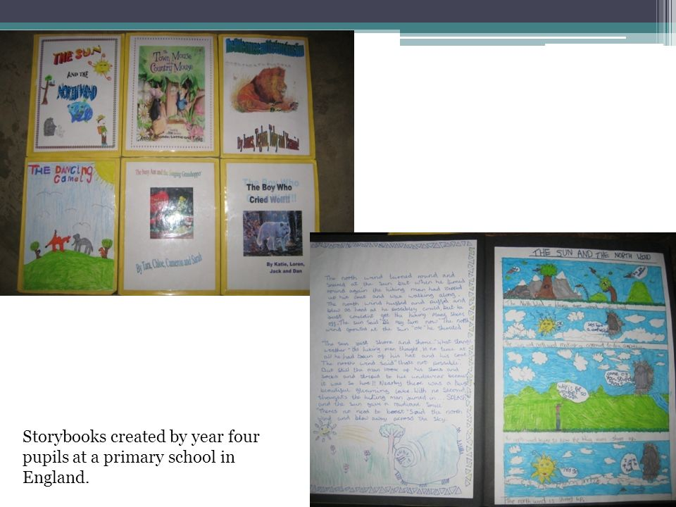 Storybooks created by year four pupils at a primary school in England.