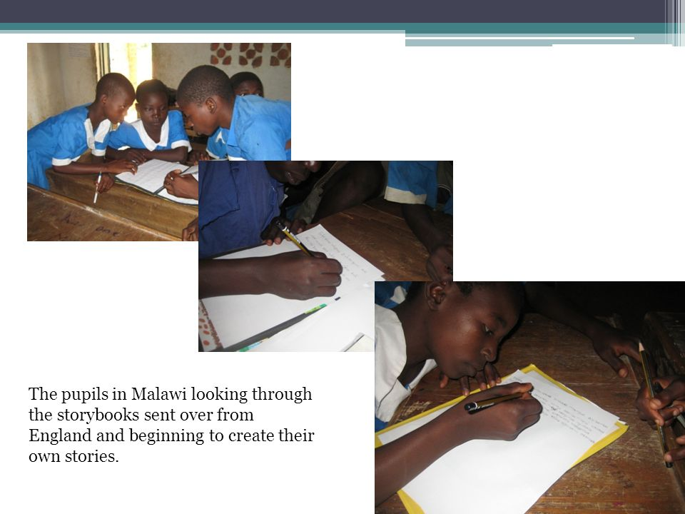 The pupils in Malawi looking through the storybooks sent over from England and beginning to create their own stories.