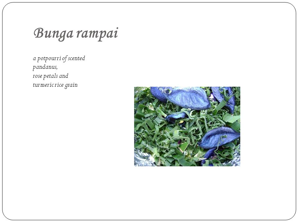 Bunga rampai a potpourri of scented pandanus, rose petals and turmeric rice grain