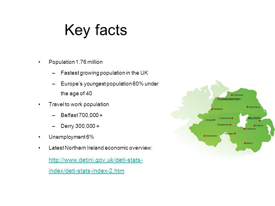 Key facts Population 1.76 million –Fastest growing population in the UK –Europes youngest population 60% under the age of 40 Travel to work population –Belfast 700,000 + –Derry 300,000 + Unemployment 6% Latest Northern Ireland economic overview:   index/deti-stats-index-2.htm