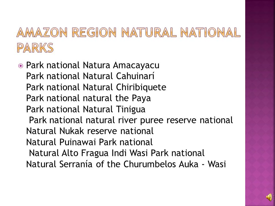 Park national Natura Amacayacu Park national Natural Cahuinarí Park national Natural Chiribiquete Park national natural the Paya Park national Natural Tinigua Park national natural river puree reserve national Natural Nukak reserve national Natural Puinawai Park national Natural Alto Fragua Indi Wasi Park national Natural Serranía of the Churumbelos Auka - Wasi
