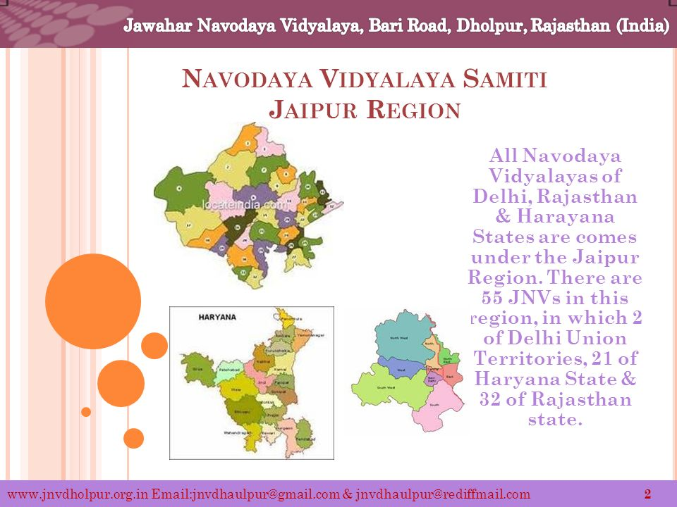 N AVODAYA V IDYALAYA S AMITI J AIPUR R EGION All Navodaya Vidyalayas of Delhi, Rajasthan & Harayana States are comes under the Jaipur Region.