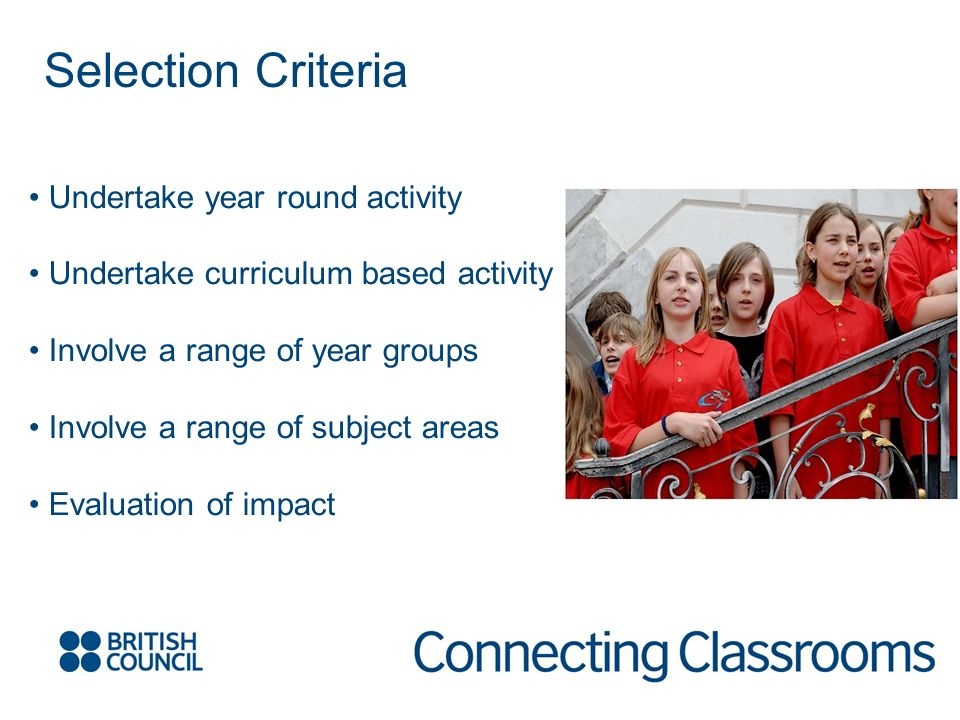 Selection Criteria Undertake year round activity Undertake curriculum based activity Involve a range of year groups Involve a range of subject areas Evaluation of impact