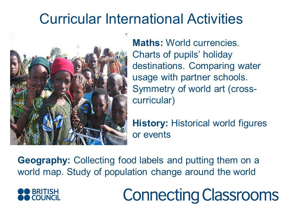 Maths: World currencies. Charts of pupils holiday destinations.