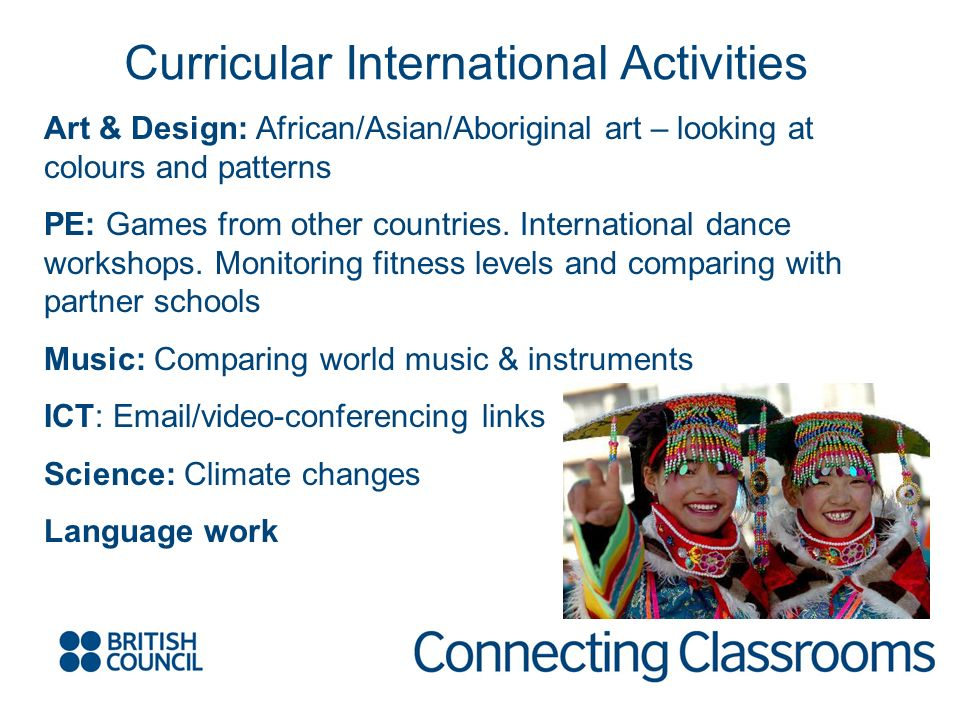 Art & Design: African/Asian/Aboriginal art – looking at colours and patterns PE: Games from other countries.