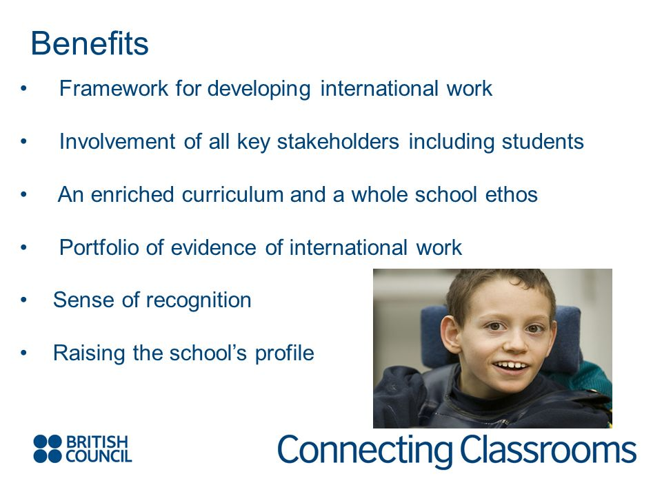 Framework for developing international work Involvement of all key stakeholders including students An enriched curriculum and a whole school ethos Por