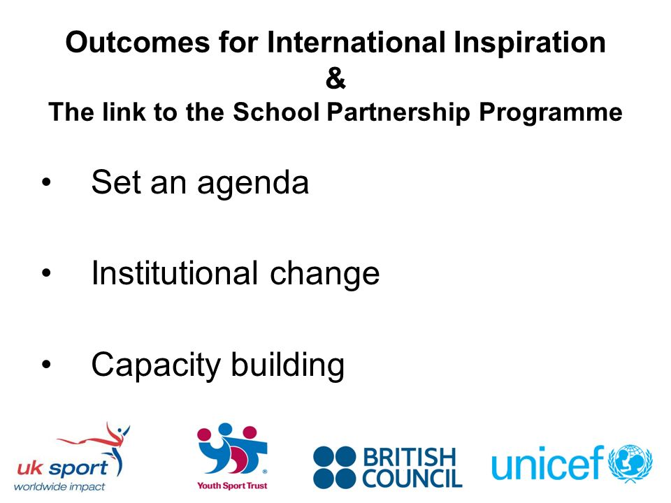 Outcomes for International Inspiration & The link to the School Partnership Programme Set an agenda Institutional change Capacity building