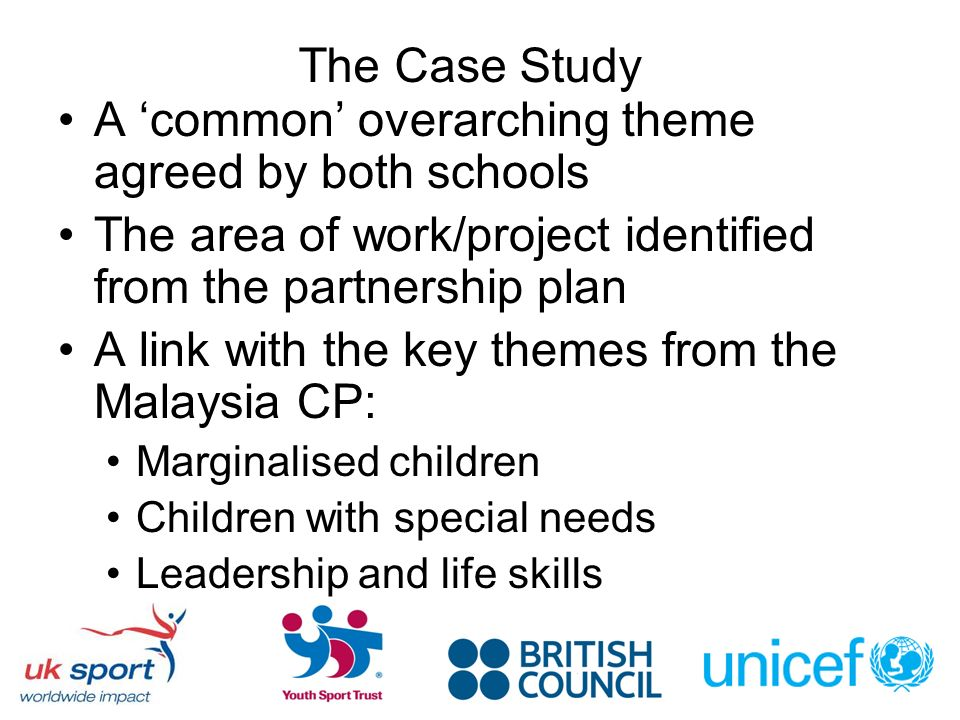 The Case Study A common overarching theme agreed by both schools The area of work/project identified from the partnership plan A link with the key the