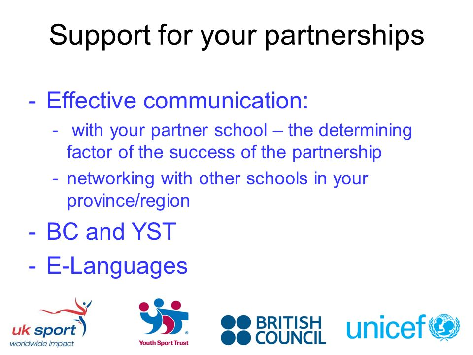 Support for your partnerships -Effective communication: - with your partner school – the determining factor of the success of the partnership -networking with other schools in your province/region -BC and YST -E-Languages