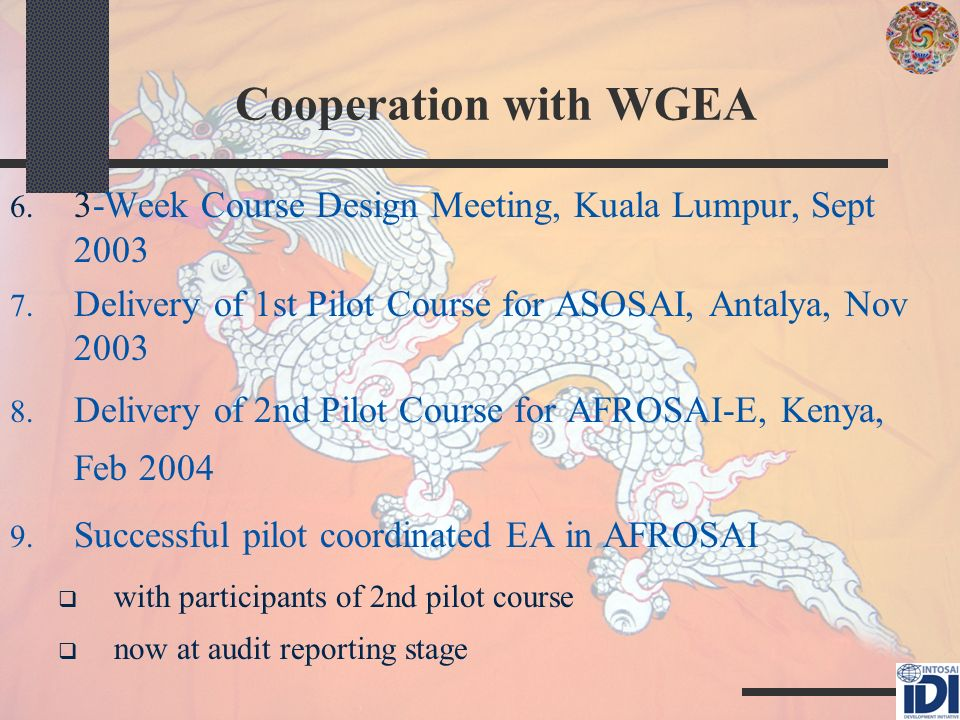 Cooperation with WGEA 6. 3-Week Course Design Meeting, Kuala Lumpur, Sept 2003 7.