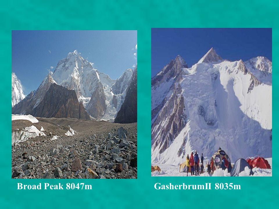MOUNTAINS AND RANGES K2 Pakistan/China 8611m Nanga Parbat Kashmir 8125 m GasherbrumI Pakistan/China 8086m. Broad Peak Pakistan/china 8047m. Gasherbrum