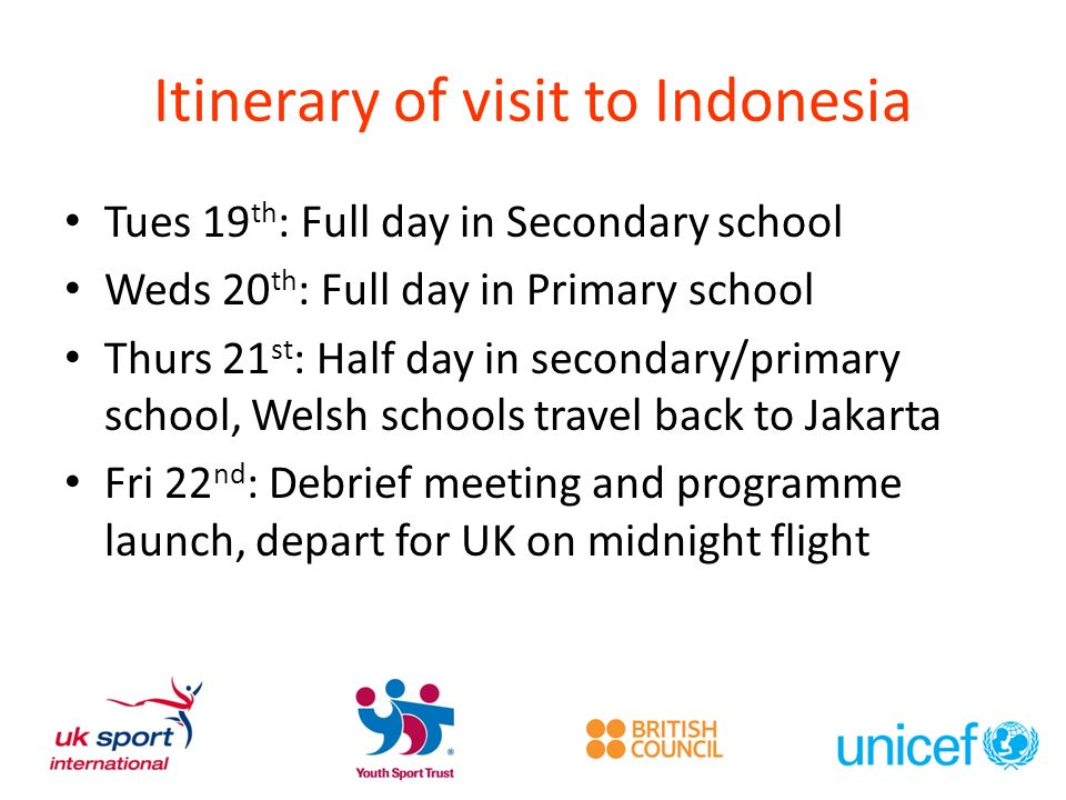 Itinerary of visit to Indonesia Tues 19 th : Full day in Secondary school Weds 20 th : Full day in Primary school Thurs 21 st : Half day in secondary/