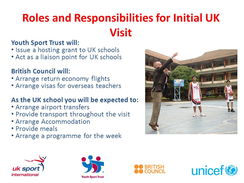 Roles and Responsibilities for Initial UK Visit Youth Sport Trust will: Issue a hosting grant to UK schools Act as a liaison point for UK schools Brit