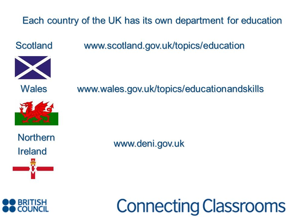 Each country of the UK has its own department for education Scotlandwww.scotland.gov.uk/topics/education Wales Waleswww.wales.gov.uk/topics/educationa