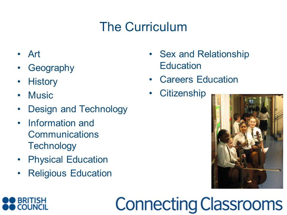 The Curriculum Art Geography History Music Design and Technology Information and Communications Technology Physical Education Religious Education Sex