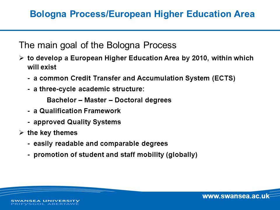 www.swansea.ac.uk Bologna Process/European Higher Education Area Historical context Sorbonne Declaration (1998) set the basic precepts - improving international transparency - facilitating mobility of students and staff - designing a common degree level system (Undergraduate and Masters) France, Germany, Italy and UK