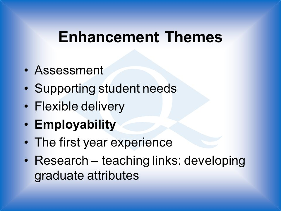 Enhancement Themes Assessment Supporting student needs Flexible delivery Employability The first year experience Research – teaching links: developing graduate attributes