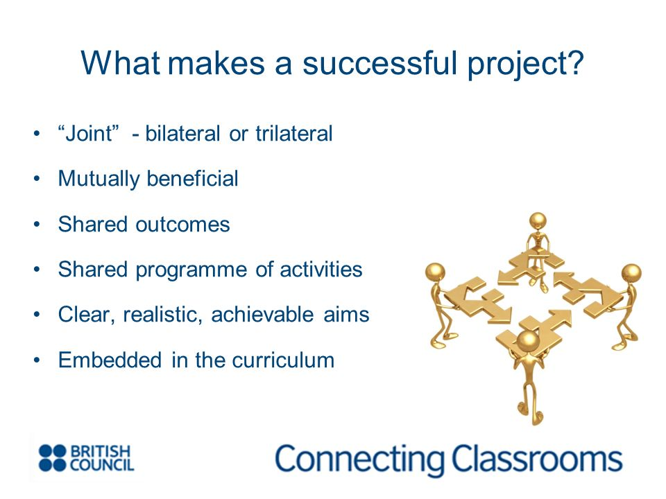 Joint - bilateral or trilateral Mutually beneficial Shared outcomes Shared programme of activities Clear, realistic, achievable aims Embedded in the curriculum What makes a successful project?