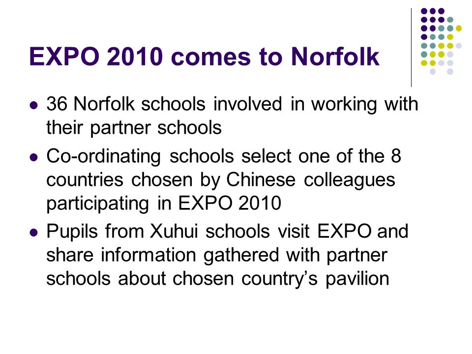 EXPO 2010 comes to Norfolk 36 Norfolk schools involved in working with their partner schools Co-ordinating schools select one of the 8 countries chosen by Chinese colleagues participating in EXPO 2010 Pupils from Xuhui schools visit EXPO and share information gathered with partner schools about chosen countrys pavilion