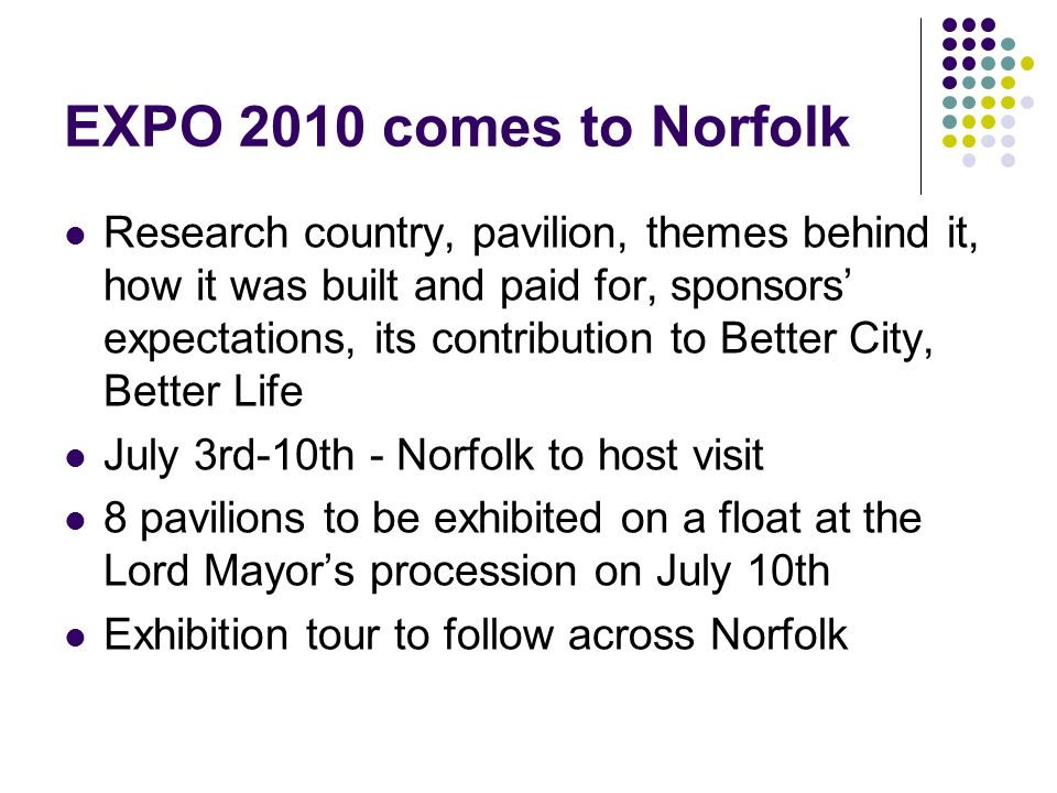 EXPO 2010 comes to Norfolk Research country, pavilion, themes behind it, how it was built and paid for, sponsors expectations, its contribution to Bet