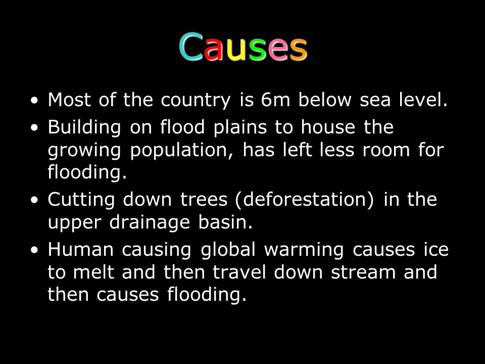 Causes Most of the country is 6m below sea level.