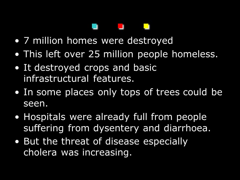... 7 million homes were destroyed This left over 25 million people homeless.