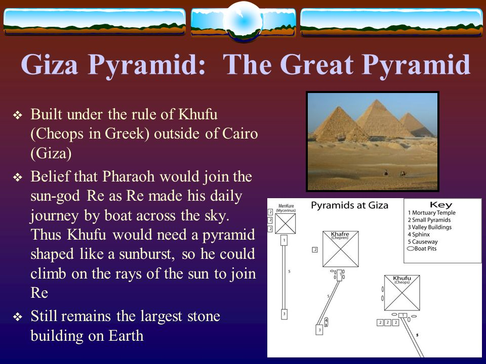 Giza Pyramid: The Great Pyramid Built under the rule of Khufu (Cheops in Greek) outside of Cairo (Giza) Belief that Pharaoh would join the sun-god Re