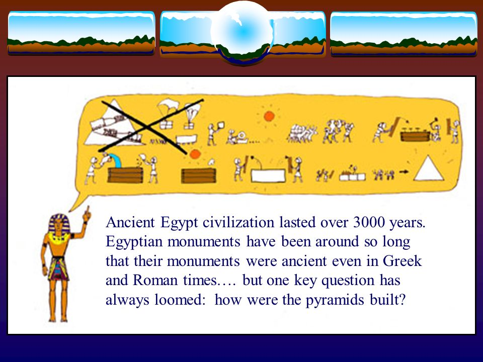 Ancient Egypt civilization lasted over 3000 years. Egyptian monuments have been around so long that their monuments were ancient even in Greek and Rom