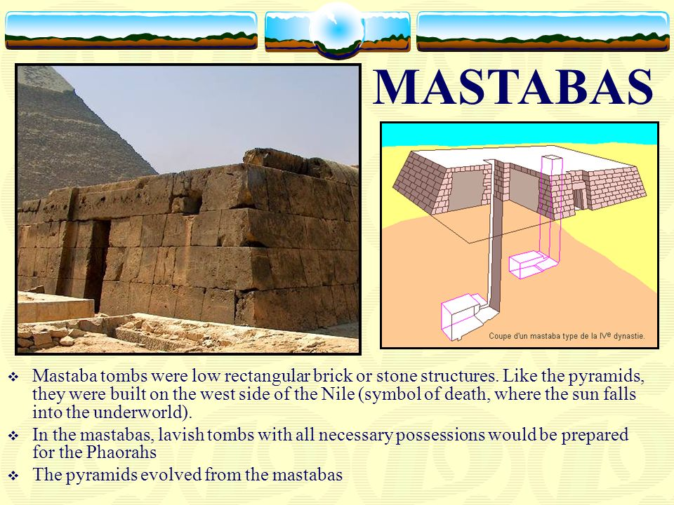 Mastaba tombs were low rectangular brick or stone structures. Like the pyramids, they were built on the west side of the Nile (symbol of death, where