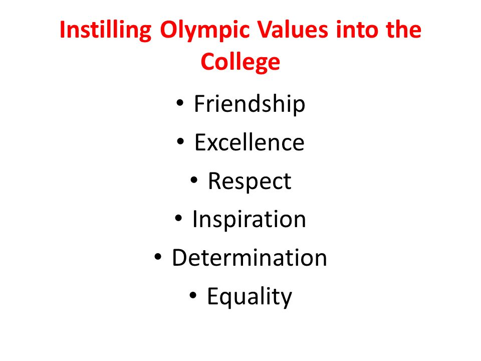 Instilling Olympic Values into the College Friendship Excellence Respect Inspiration Determination Equality