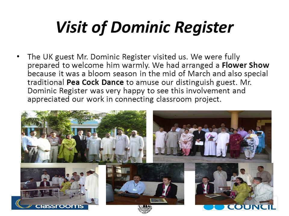 Visit of Dominic Register The UK guest Mr. Dominic Register visited us.