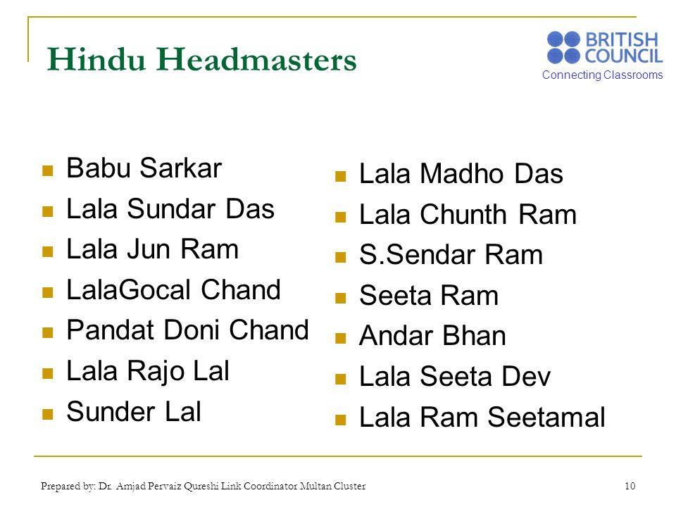 Connecting Classrooms Prepared by: Dr. Amjad Pervaiz Qureshi Link Coordinator Multan Cluster 10 Hindu Headmasters Babu Sarkar Lala Sundar Das Lala Jun