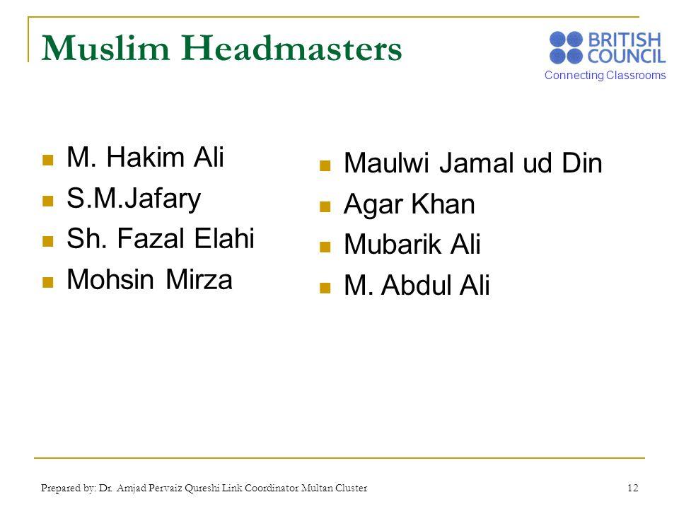 Connecting Classrooms Prepared by: Dr. Amjad Pervaiz Qureshi Link Coordinator Multan Cluster 12 Muslim Headmasters M. Hakim Ali S.M.Jafary Sh. Fazal E