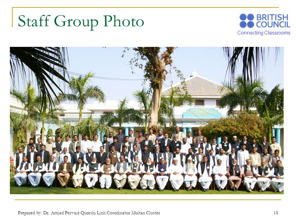 Connecting Classrooms Prepared by: Dr. Amjad Pervaiz Qureshi Link Coordinator Multan Cluster 18 Staff Group Photo