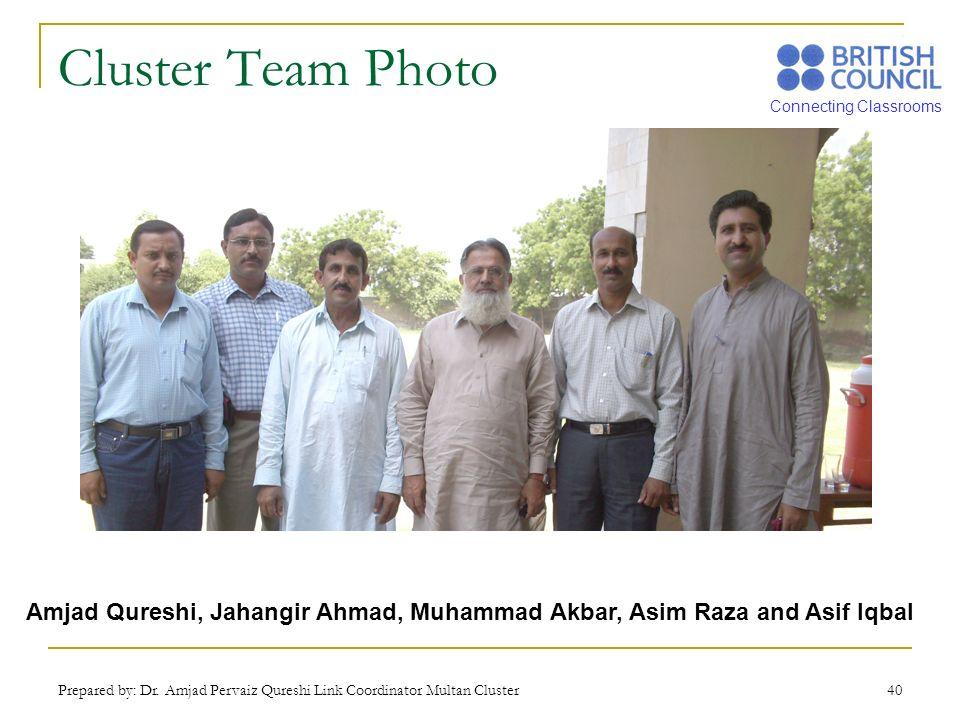 Connecting Classrooms Prepared by: Dr. Amjad Pervaiz Qureshi Link Coordinator Multan Cluster 40 Cluster Team Photo Amjad Qureshi, Jahangir Ahmad, Muha