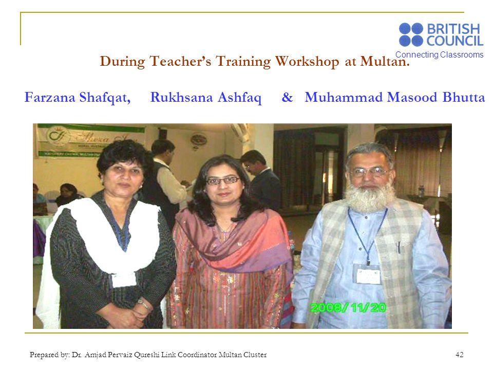 Connecting Classrooms Prepared by: Dr. Amjad Pervaiz Qureshi Link Coordinator Multan Cluster 42 During Teachers Training Workshop at Multan. Farzana S