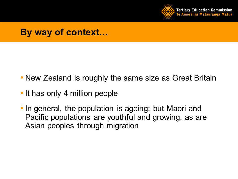 By way of context… New Zealand is roughly the same size as Great Britain It has only 4 million people In general, the population is ageing; but Maori and Pacific populations are youthful and growing, as are Asian peoples through migration