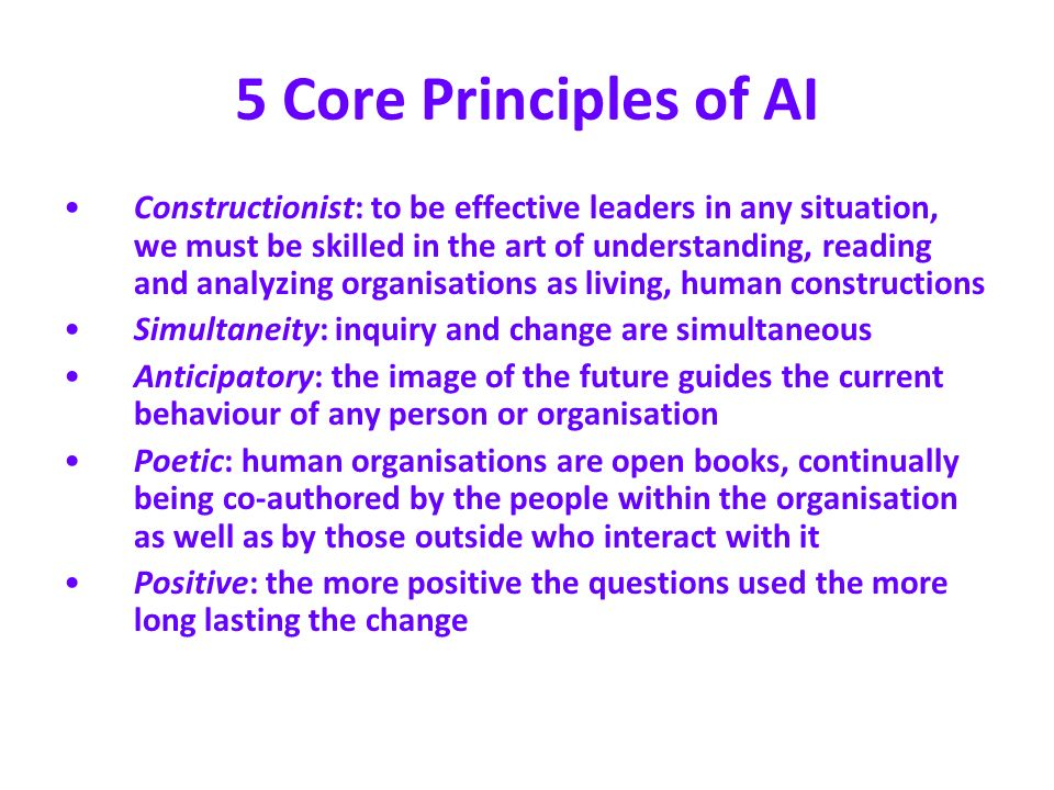 5 Core Principles of AI Constructionist: to be effective leaders in any situation, we must be skilled in the art of understanding, reading and analyzi