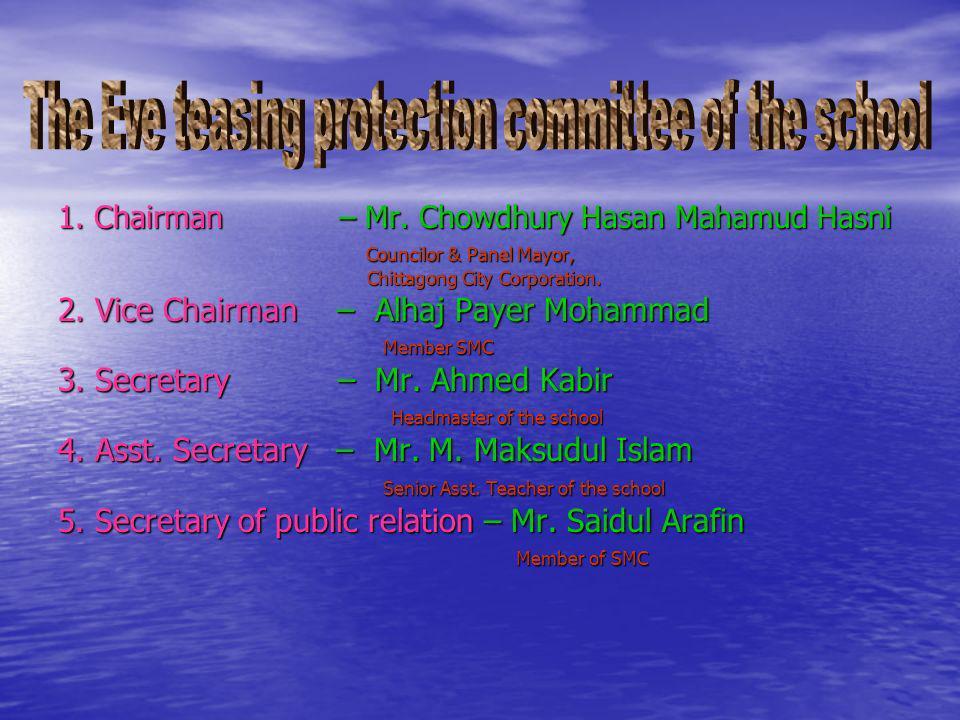 1. Chairman – Mr. Chowdhury Hasan Mahamud Hasni Councilor & Panel Mayor, Councilor & Panel Mayor, Chittagong City Corporation. Chittagong City Corpora