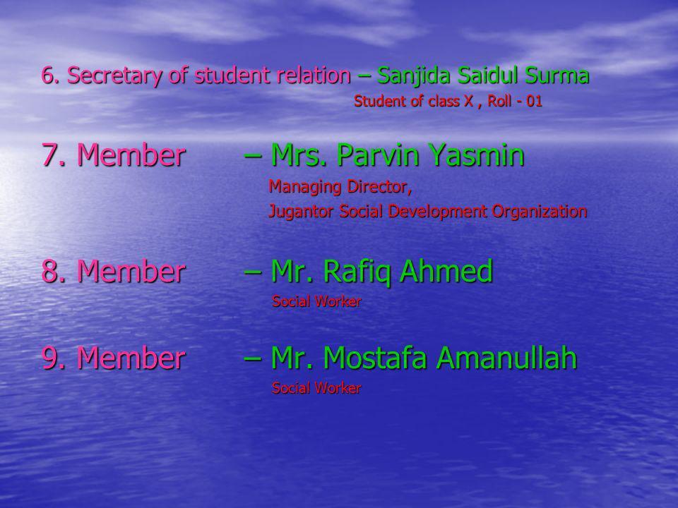 6. Secretary of student relation – Sanjida Saidul Surma Student of class X, Roll - 01 Student of class X, Roll - 01 7. Member – Mrs. Parvin Yasmin Man