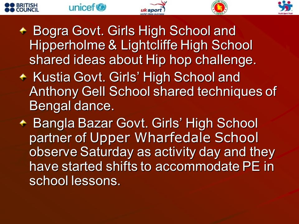 Bogra Govt. Girls High School and Hipperholme & Lightcliffe High School shared ideas about Hip hop challenge. Bogra Govt. Girls High School and Hipper