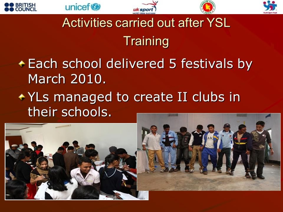 Activities carried out after YSL Training Each school delivered 5 festivals by March 2010. YLs managed to create II clubs in their schools.