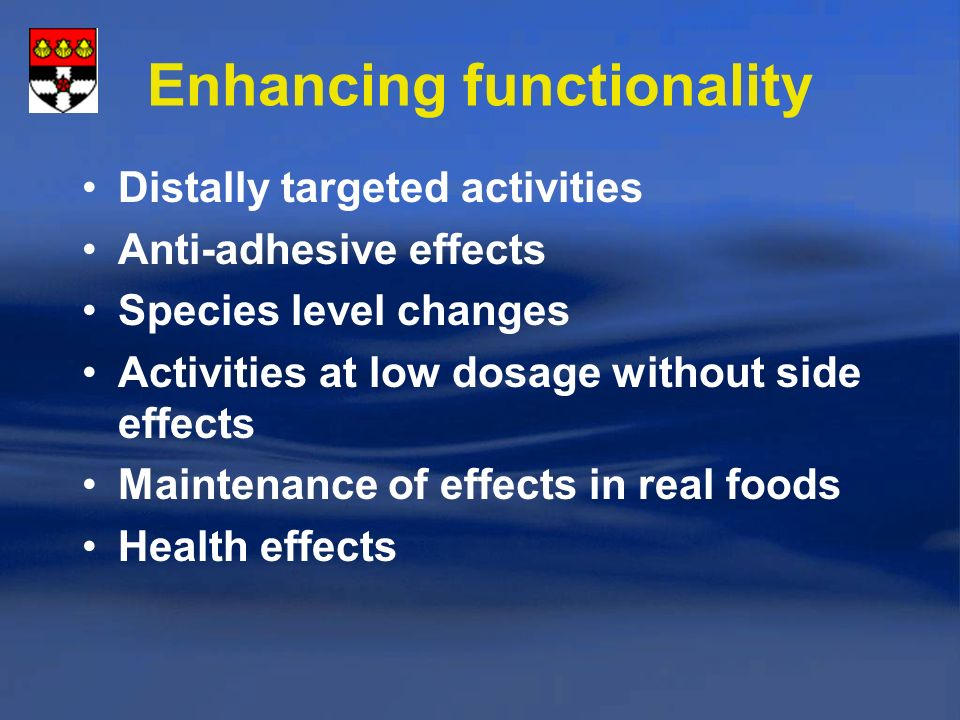 Enhancing functionality Distally targeted activities Anti-adhesive effects Species level changes Activities at low dosage without side effects Maintenance of effects in real foods Health effects