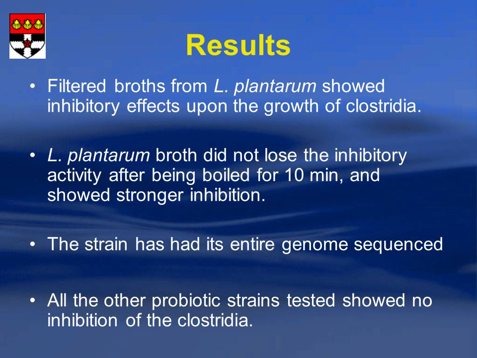 Results Filtered broths from L.plantarum showed inhibitory effects upon the growth of clostridia.