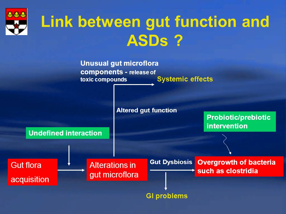 Link between gut function and ASDs .