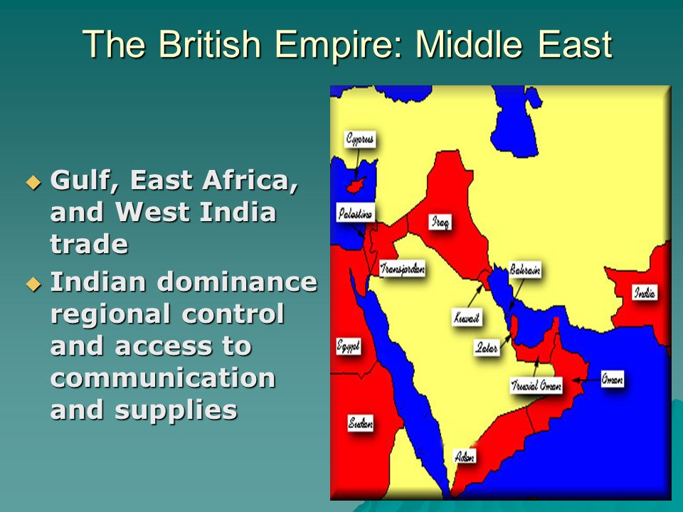 The British Empire: Middle East Gulf, East Africa, and West India trade Gulf, East Africa, and West India trade Indian dominance regional control and access to communication and supplies Indian dominance regional control and access to communication and supplies