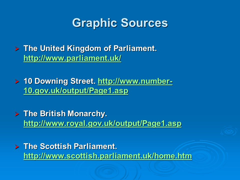 Graphic Sources The United Kingdom of Parliament.