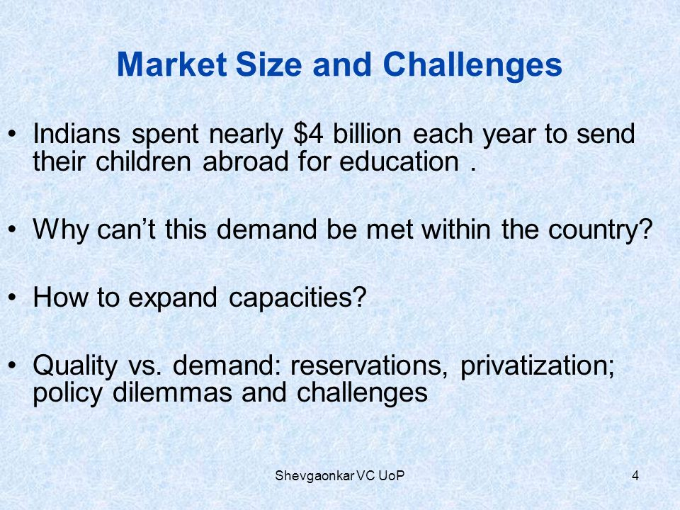 Market Size and Challenges Indians spent nearly $4 billion each year to send their children abroad for education. Why cant this demand be met within t