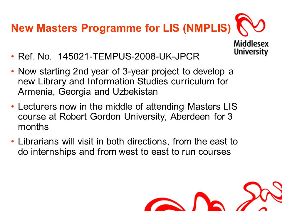 New Masters Programme for LIS (NMPLIS) Ref. No.